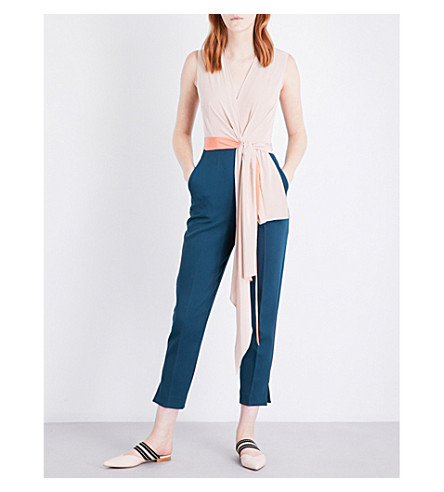 ROKSANDA Rokuro crepe de chine and gabardine jumpsuit (Blush/peakcock/+aprcoat