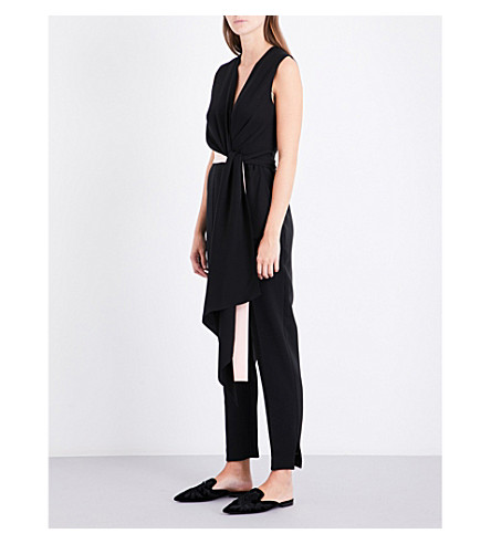 ROKSANDA Rokuro ruched stretch-crepe jumpsuit (Black