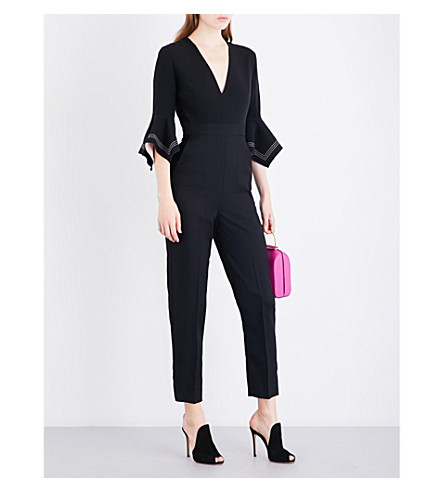 ROKSANDA Kasumi V-neck wool and silk-blend jumpsuit (Black