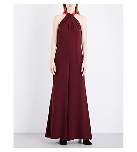 ROKSANDA Tavira halterneck silk-georgette jumpsuit (Chestnut