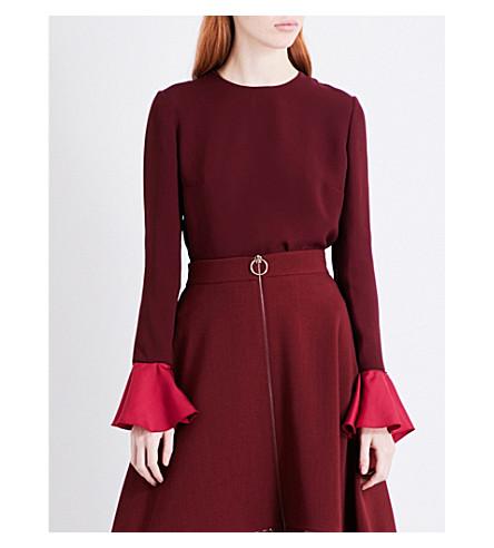 ROKSANDA Flared-sleeve silk top (Chestnut/cherry