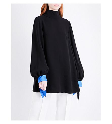 ROKSANDA Nivala contrast-cuffs silk top (Black