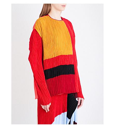 ROKSANDA Damo plissé and silk top (Rouge