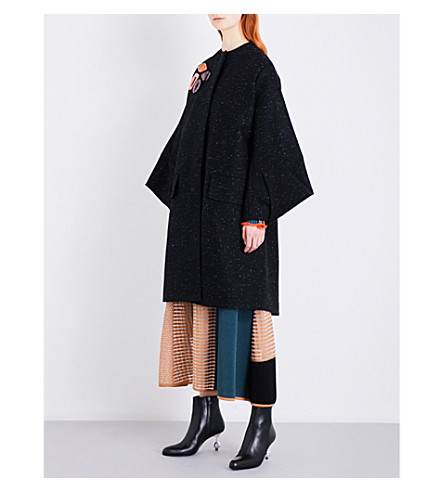 ROKSANDA Rimni embroidered cotton-twill coat (Black