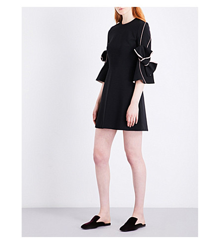 ROKSANDA Harlin bow-sleeve stretch-crepe mini dress (Black