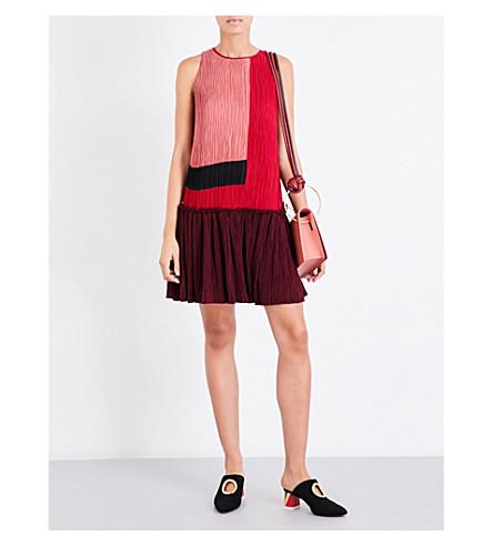 ROKSANDA Himegi colourblock plissé chiffon mini dress (Berry/orchid/black