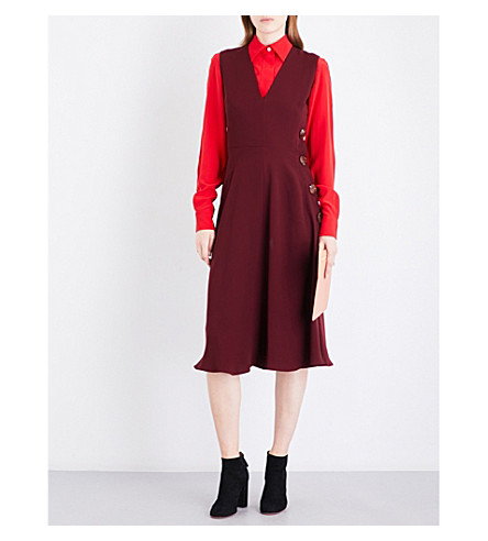 ROKSANDA Hiroko V-neck silk-georgette midi dress (Chestnut
