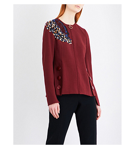 ROKSANDA Medori embroidered woven jacket (Berry