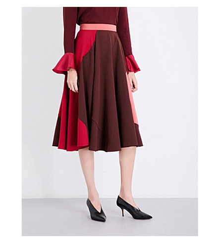 ROKSANDA Milena high-rise crepe midi skirt (Chestnut