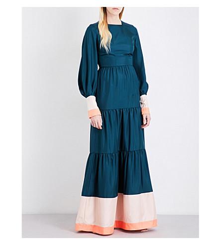 ROKSANDA Letava silk-twill gown (Peacock+/+blush/coral