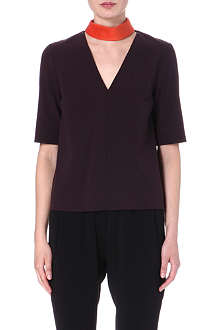 ROKSANDA ILINCIC Wool-blend top with contrast collar