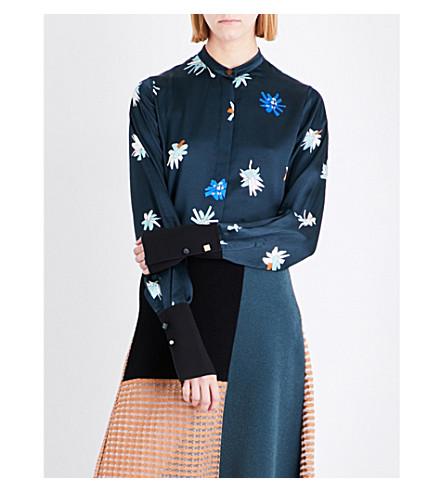 ROKSANDA Carone graphic floral-print silk shirt (Peakcock+palm+poodle+prt