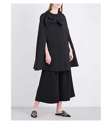 ROKSANDA Tilda bow-detail cady cape (Black