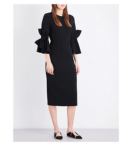 ROKSANDA Lavete bow-sleeve stretch-crepe midi dress (Black