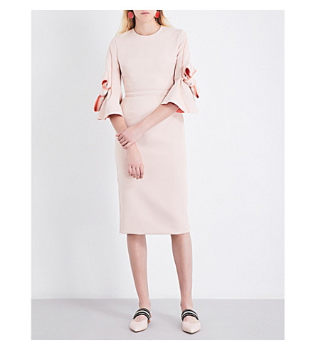 ROKSANDA Lavete bow-sleeve stretch-crepe midi dress (Vintage+rose/aprcote