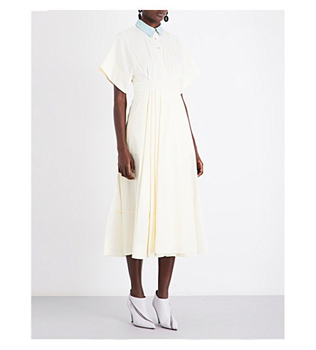 ROKSANDA Pinara fit-and-flare cotton dress (Ivory/spring+blue