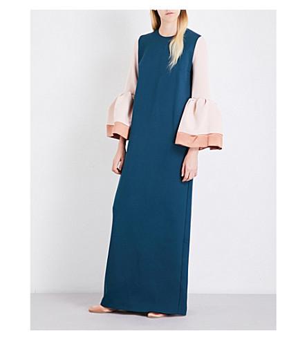 ROKSANDA Litani bonded crepe gown (Peakcock+blush