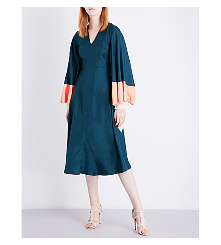 ROKSANDA Henning silk-twill dress (Peakcock/coral/blush