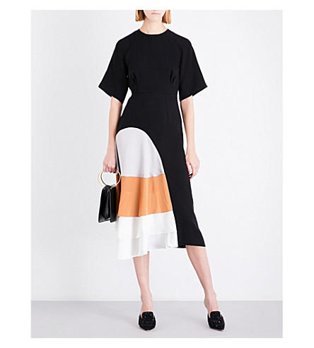 ROKSANDA Rauma short-sleeve silk midi dress (Black/silver/sand/ivory
