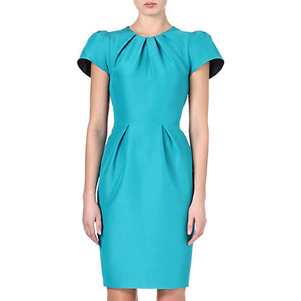 ROKSANDA ILINCIC Capped sleeve contrast panel pencil dress (Kingfisher blue /navy