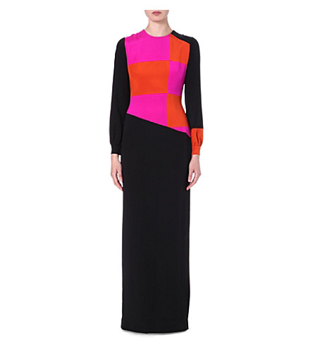 ROKSANDA ILINCIC Jowett colour-block silk gown (Black/terra/fluro pink