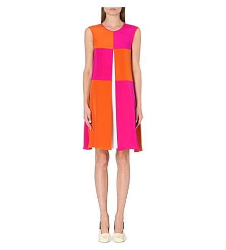 ROKSANDA ILINCIC Sleeveless pleat dress (Terra/fluropnk/ivory