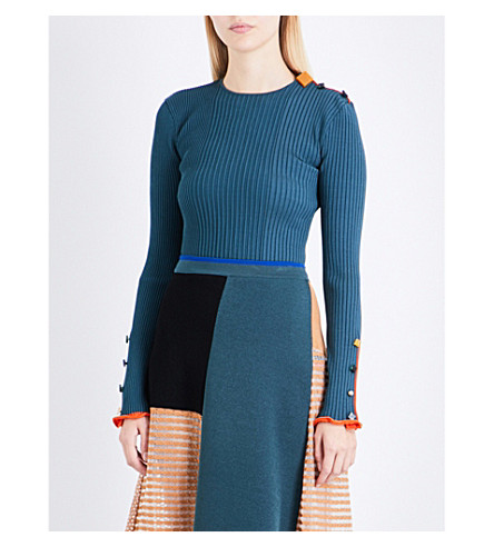 ROKSANDA Rhea ribbed knitted top (Peakcock