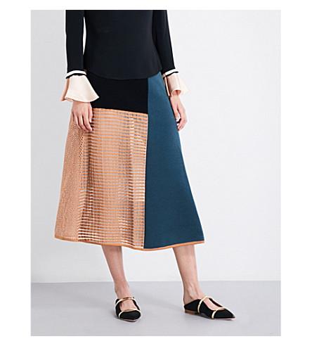 ROKSANDA Kascmo knitted midi skirt (Peakcock/sand/blue
