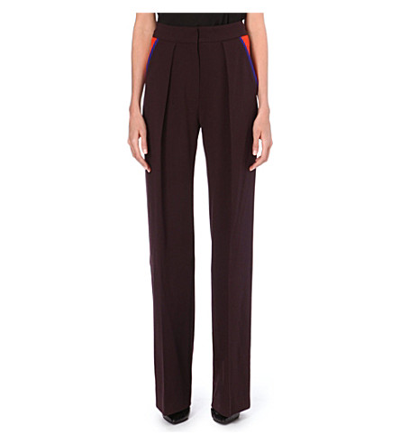 ROKSANDA ILINCIC Marlow wool-blend trousers (Maroon/teracotta/peacock