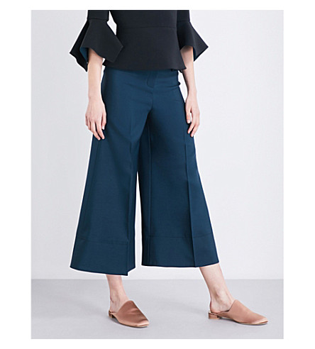 ROKSANDA Hasani wide-leg cropped wool, silk and cotton-blend trousers (Peakcock
