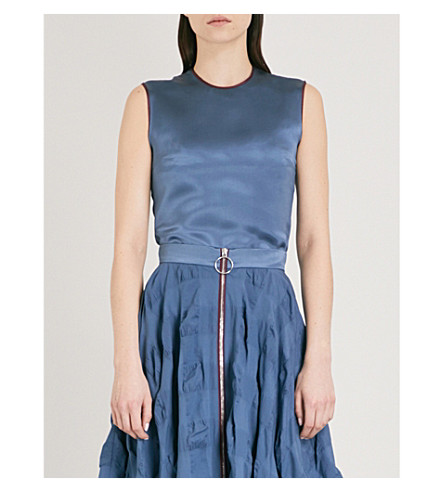 ROKSANDA Kobe sleeveless silk-satin top (French+blue