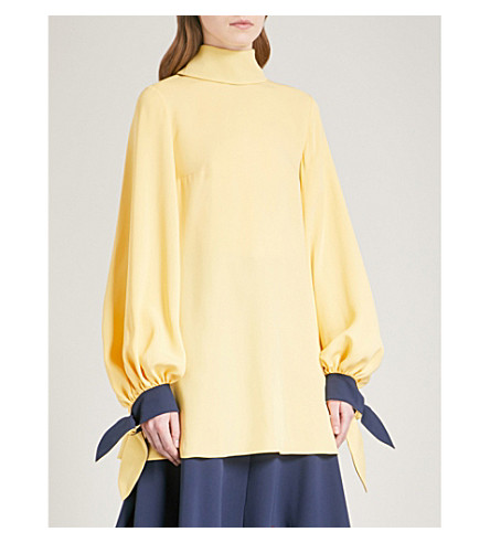 ROKSANDA Nivala bow-embellished silk-crepe blouse (Sorbet