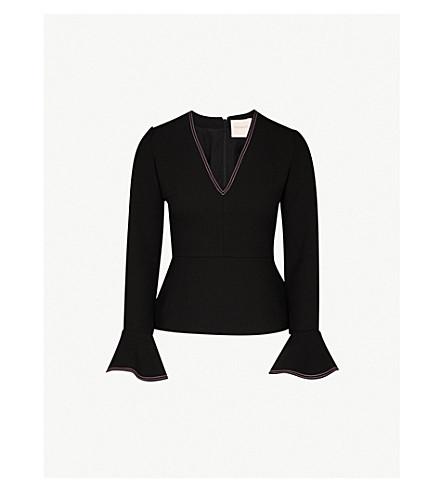 ROKSANDA Prila flared-cuff woven top (Black/blossom