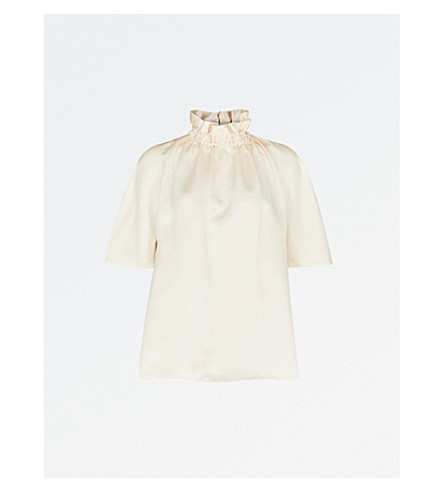 ROKSANDA Neema ruched silk-satin top (Ivory