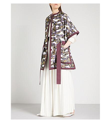 ROKSANDA Hiroka woven wrap coat (Ivory/black/sorbet/navy