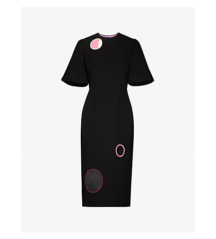 ROKSANDA Emery circle-detail woven dress (Black