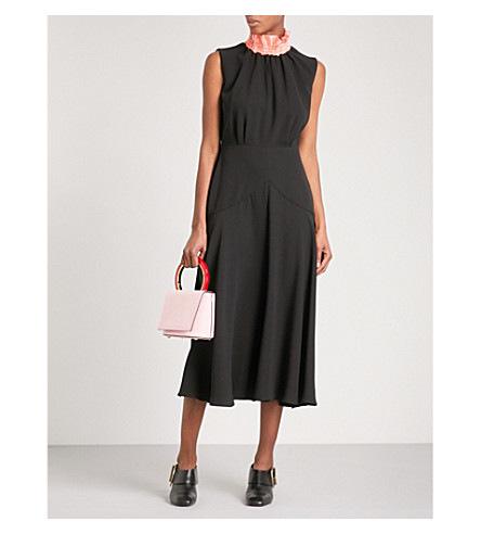 ROKSANDA Oleyda high-neck sleeveless silk midi dress (Black/bubblegum