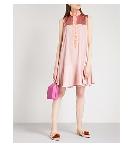 ROKSANDA Kaeli high-neck woven and silk dress (Musk/mink