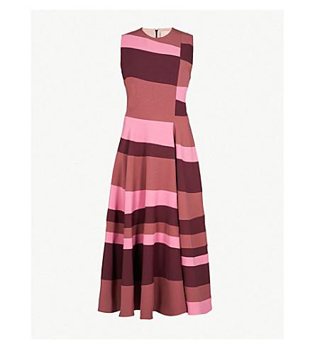 ROKSANDA Tatum sleeveless crepe midi dress (Plum/blossom/mink
