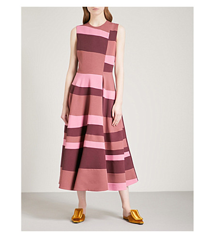 ROKSANDA Tatum sleeveless crepe midi dress (Plum/blossom/mink