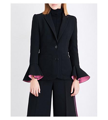 ROKSANDA Riva frilled-cuff crepe blazer (Black