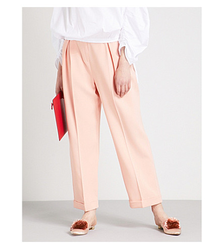ROKSANDA Tabia wide-leg crepe trousers (Shrimp