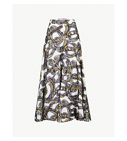 ROKSANDA Branca embroidered woven skirt (Ivory/black