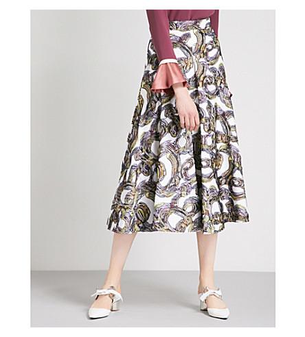 ROKSANDA Branca embroidered woven skirt (Ivory/black