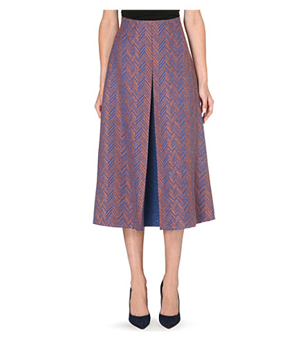 ROKSANDA ILINCIC Harlan herringbone midi skirt (Orange blue/navy blue