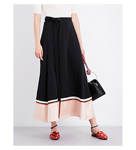 ROKSANDA Leif silk-blend midi skirt (Black+vintage+rose