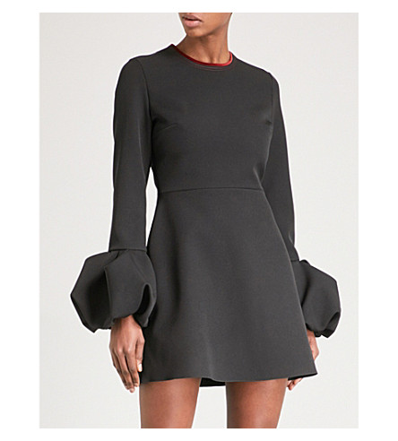 ROKSANDA Gaia puffed-cuff woven mini dress (Black