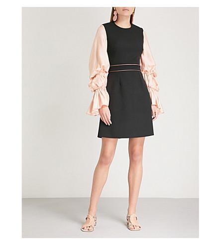 ROKSANDA Manon virago-sleeve silk-blend dress (Nude/black