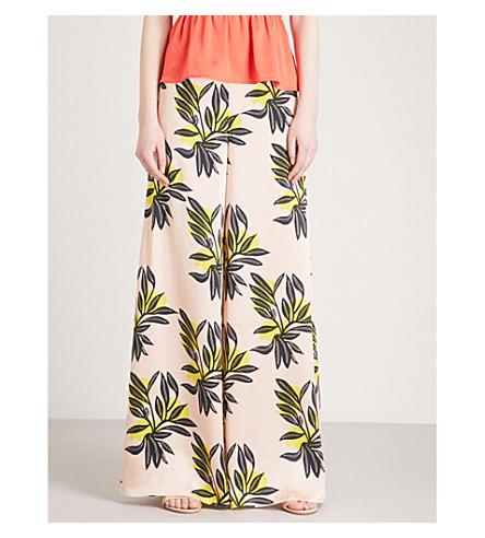 ROKSANDA Bohri floral-print silk trousers (Black+rose