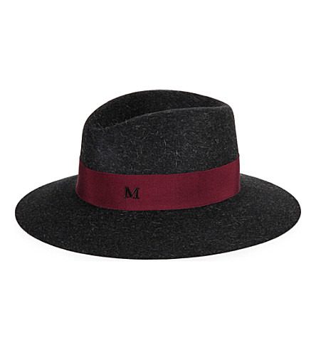 MAISON MICHEL Virginie rabbit-felt fedora (Charcoal/burgundy